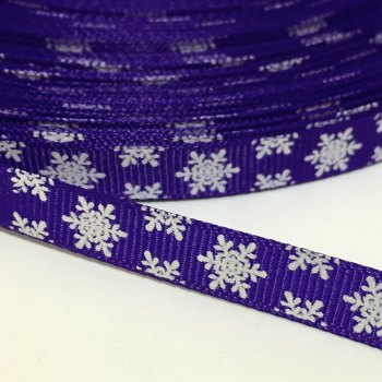 SALE 10mm Snowflake Grosgrain Ribbon - Purple