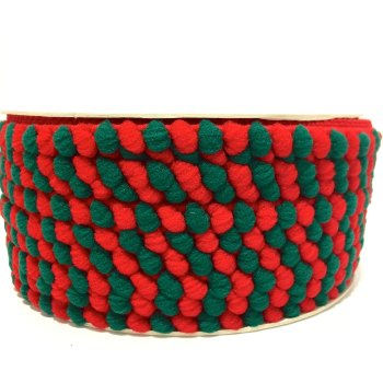 SALE 5mm Pom Pom Trim - Red/Green