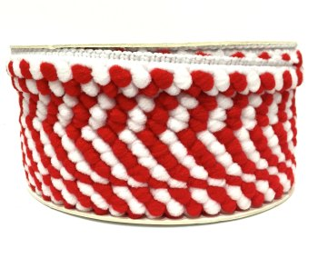 SALE 5mm Pom Pom Trim - Red/White
