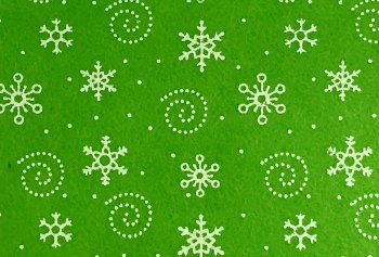 Acrylic Patterned Felt Sheet - Snowflakes - Lime Green