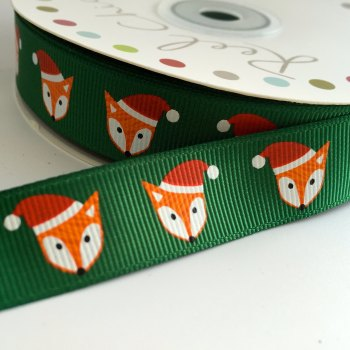 19mm Cute Christmas Ribbon - Fox Hat - Green