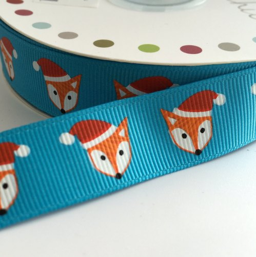 19mm Cute Christmas Ribbon - Fox Hat - Turquoise