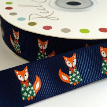 19mm Cute Christmas Ribbon - Fox Jumper - Navy