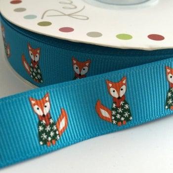 19mm Cute Christmas Ribbon - Fox Jumper - Turquoise