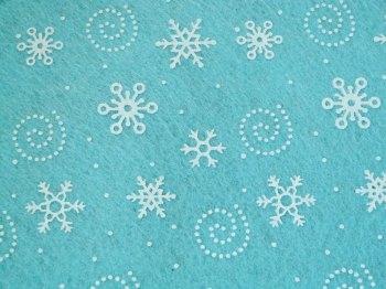 Acrylic Patterned Felt Sheet - Snowflakes - Pastel Turquoise