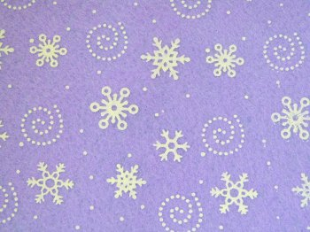 Acrylic Patterned Felt Sheet - Snowflakes - Lilac