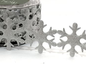 Half Metre of 45mm wide Padded Cut Out Snowflakes - Silver Glitter