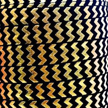 Fold Over Elastic - Metallic Chevron - Black/Gold