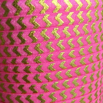 Fold Over Elastic - Metallic Chevron - Bright Pink/Gold