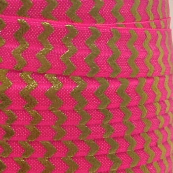 Fold Over Elastic - Metallic Chevron - Neon Hot Pink/Gold