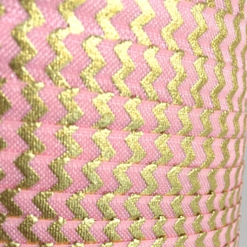 Fold Over Elastic - Metallic Chevron - Pink/Gold