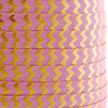 Fold Over Elastic - Metallic Chevron - Rose/Gold