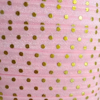 Fold Over Elastic - Metallic Polka Dot - Light Pink/Gold