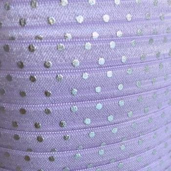 Fold Over Elastic - Metallic Polka Dot - Lilac/Silver