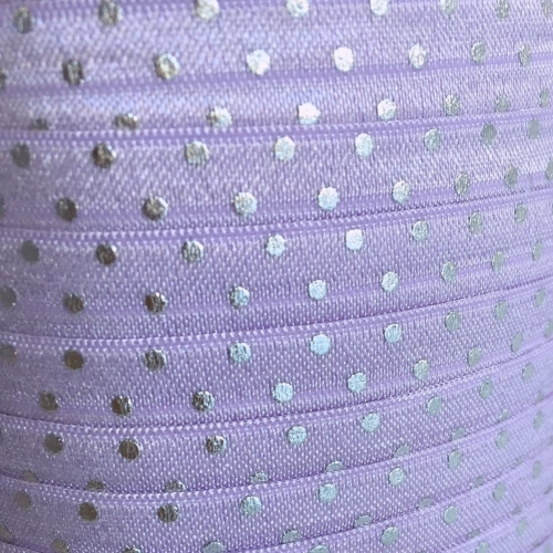 Fold Over Elastic - Polka Dot - Lilac/Silver