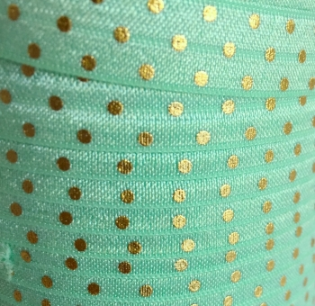 Fold Over Elastic - Metallic Polka Dot - Mint/Gold