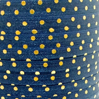 Fold Over Elastic - Metallic Polka Dot - Navy/Gold