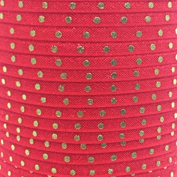 Fold Over Elastic - Metallic Polka Dot - Red/Gold