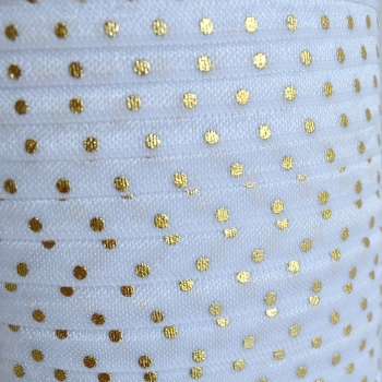 Fold Over Elastic - Metallic Polka Dot - White/Gold