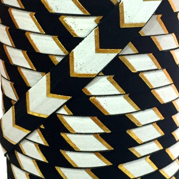 Fold Over Elastic - Large Metallic Chevron - Black/Gold