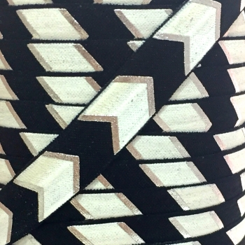 Fold Over Elastic - Large Metallic Chevron - Black/Silver