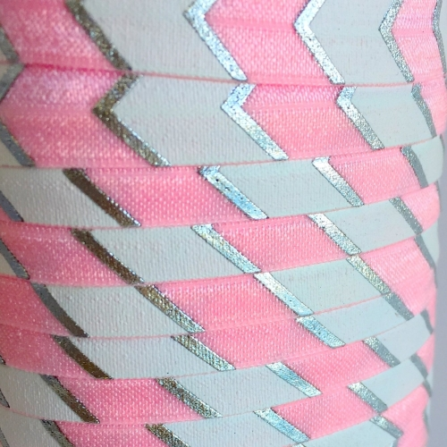 Fold Over Elastic - Large Chevron - Light Pink/Silver
