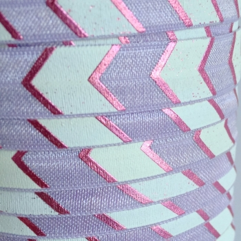 Fold Over Elastic - Large Metallic Chevron - Lilac/Lilac