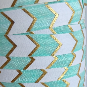 Fold Over Elastic - Large Metallic Chevron - Mint/Gold