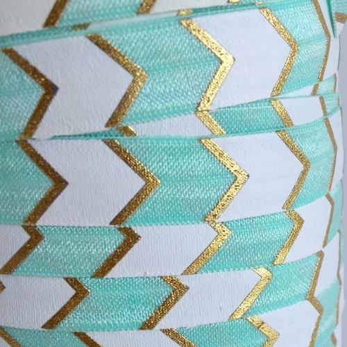 Fold Over Elastic - Large Chevron - Mint/Gold