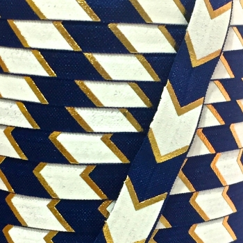 Fold Over Elastic - Large Metallic Chevron - Navy/Gold
