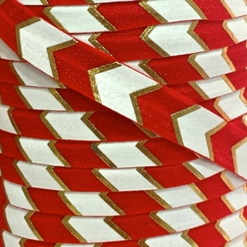 Fold Over Elastic - Large Metallic Chevron - Red/Gold