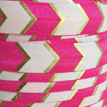 Fold Over Elastic - Large Metallic Chevron - Hot Pink/Gold