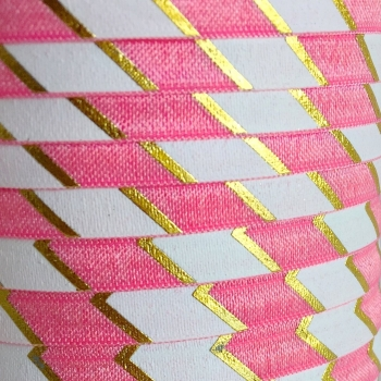 Fold Over Elastic - Large Metallic Chevron - Pink/Gold
