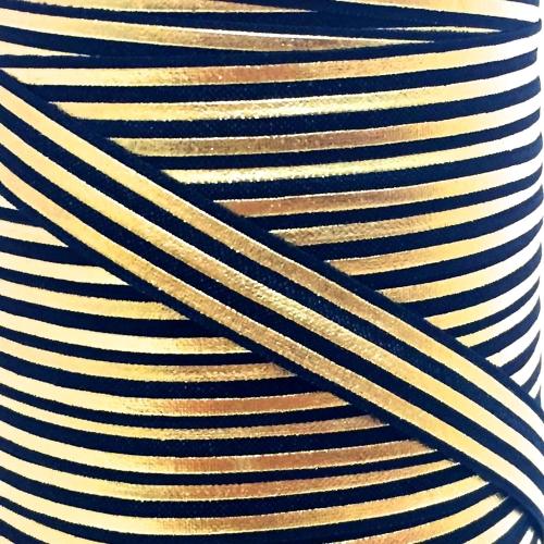 Fold Over Elastic - Stripes - Black/Gold