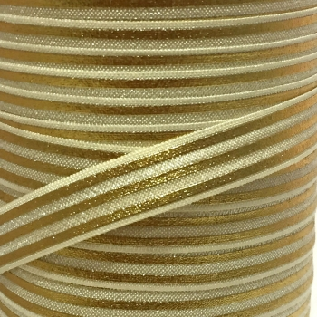 Fold Over Elastic - Metallic Stripes - Gold/Gold