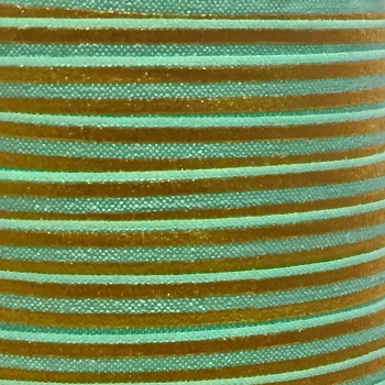 Fold Over Elastic - Metallic Stripes - Mint/Gold