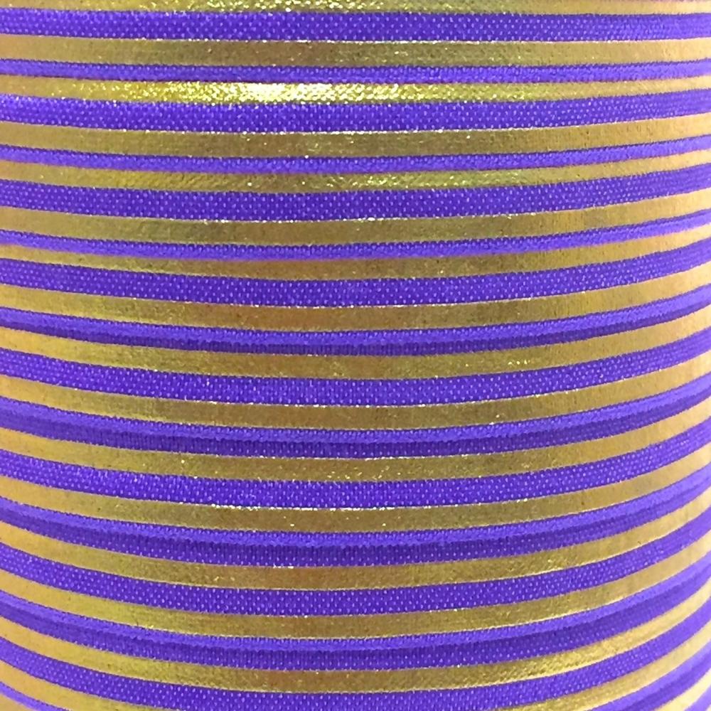 Fold Over Elastic - Stripes - Purple/Gold