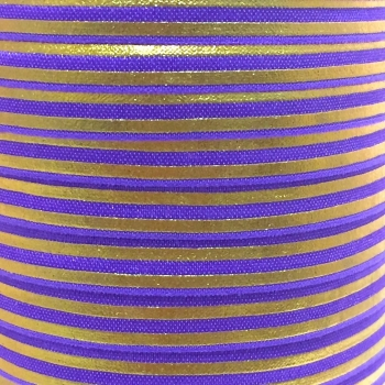 Fold Over Elastic - Metallic Stripes - Purple/Gold