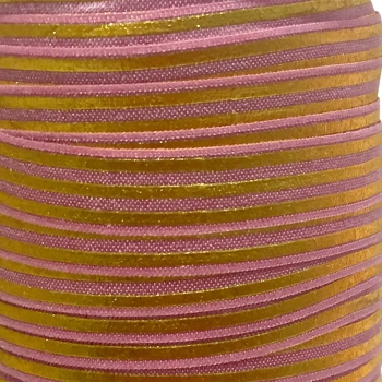 Fold Over Elastic - Metallic Stripes - Rose/Gold