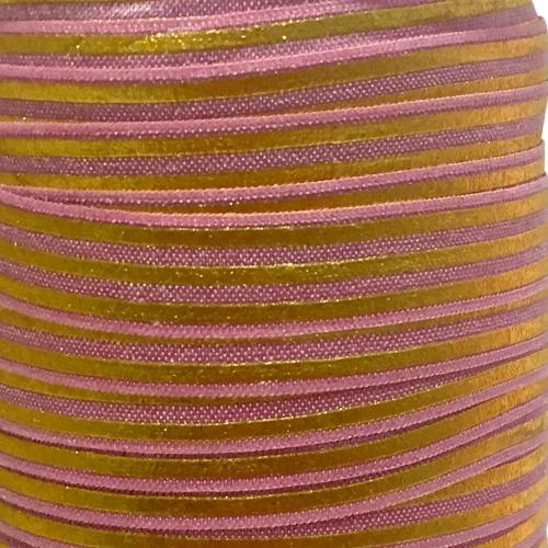 Fold Over Elastic - Stripes - Rose/Gold