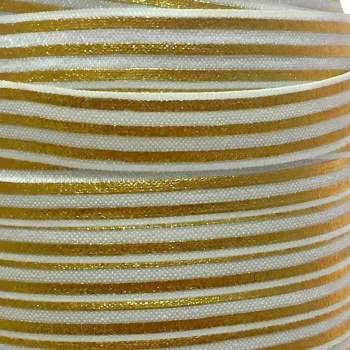 Fold Over Elastic - Metallic Stripes - White/Gold