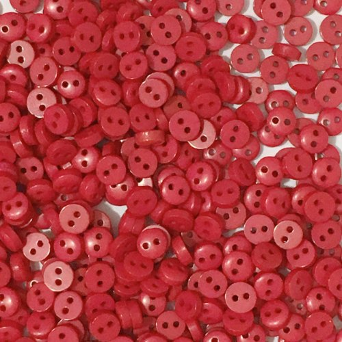 6mm Mini Round Buttons - Red