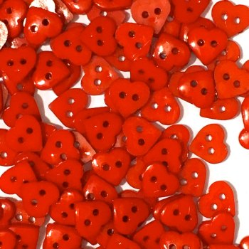 SALE - Pack of 50 - 11mm Heart buttons - Red