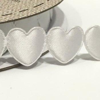 15mm Satin Heart Trim - White