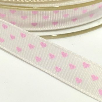 10mm Grosgrain Mini Heart Ribbon - Pink