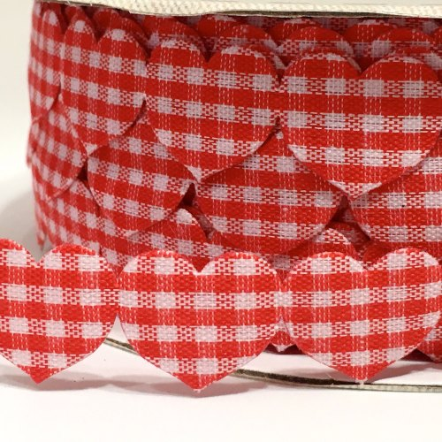 15mm Gingham Heart Trim - Red