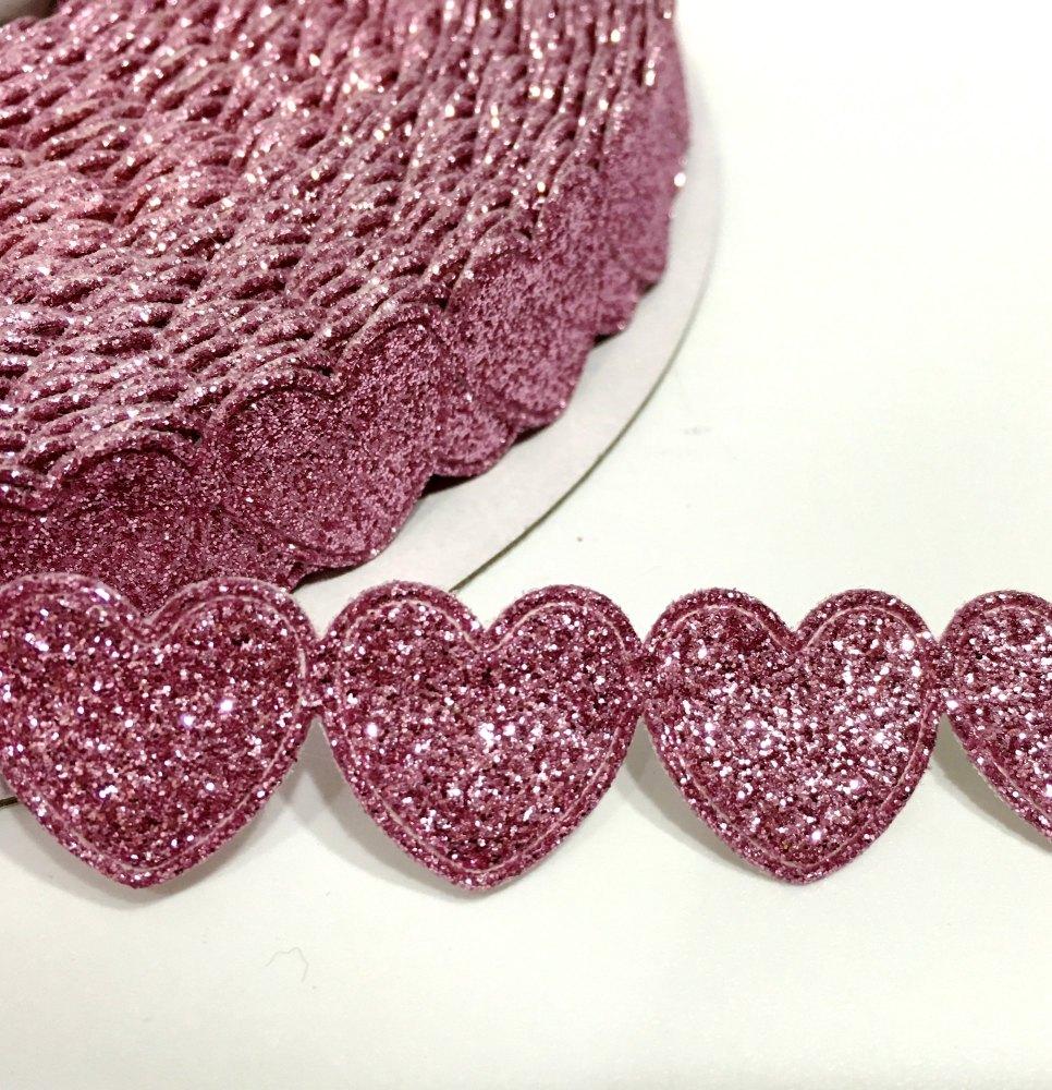 15mm Glitter Heart Trim - Pink