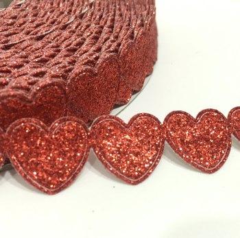 15mm Glitter Heart Trim - Red