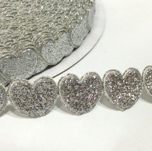 15mm Glitter Heart Trim - Silver