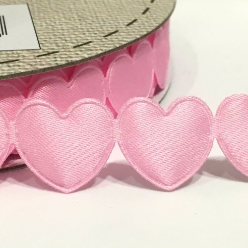 15mm Satin Heart Trim - Pink